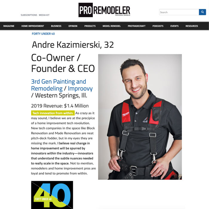 Andre Kazimierski Pro Remodeler Magazine Award