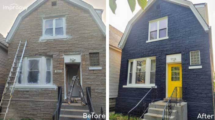 before afters black brick painted