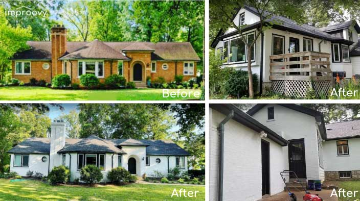 white painted brick house before and after