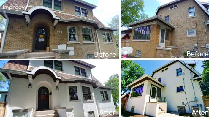 before and after brick painted home