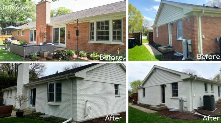 house exterior brick white painting