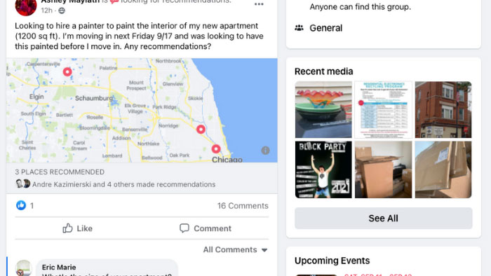 local apartment painter facebook group recommendation