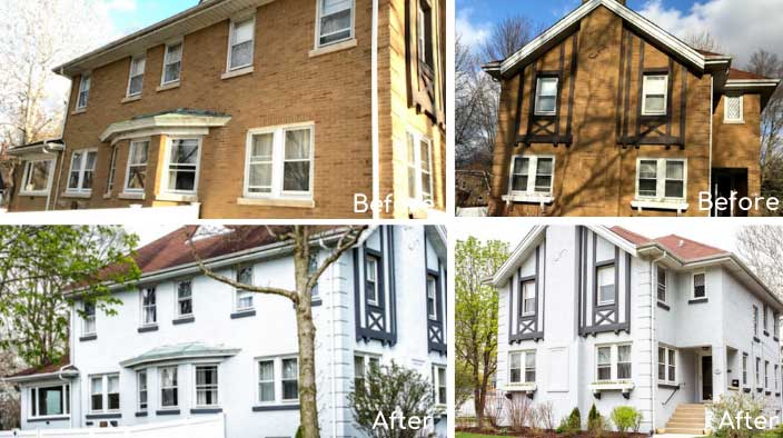 tudor brick home painting photos